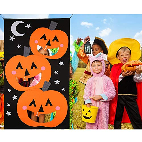 Pumpkin Bean Bag Toss Game - 3 Bean Bags Pumpkin Hanging Halloween Games for Kids Party Halloween Decorations or Treat Banner Family Friendly Party 30 x 54 inches (Black Orange) by Comeb