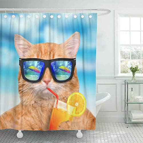 Emvency Shower Curtain Set with Hooks Polyester Fabric The Funny Cat Drinks Orange Juice Cat Wearing Sunglasses Relaxing Sea Background Waterproof Adjustable 72 x 72 Inches for ()