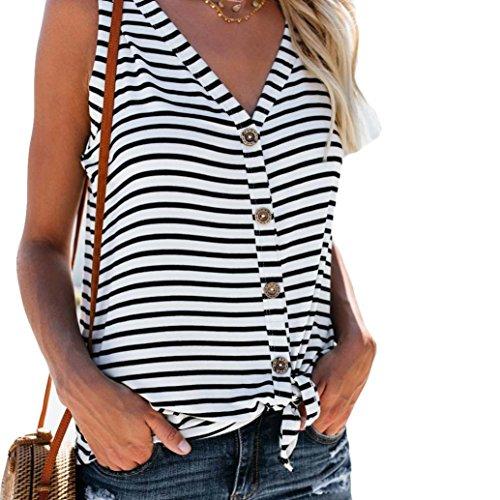 TOTOD Womens Fashion White V-Neck Button Cotton Stripe Sexy Vest Fashion Sleeveless T-Shirt