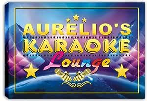 scpk1-0700 AURELIO'S Karaoke Lounge Bar Beer Stretched Canvas Print Sign