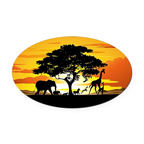 CafePress - Wild Animals On African Savannah Sunset Oval Car M - Oval Car Magnet, Euro Oval Magnetic Bumper Sticker