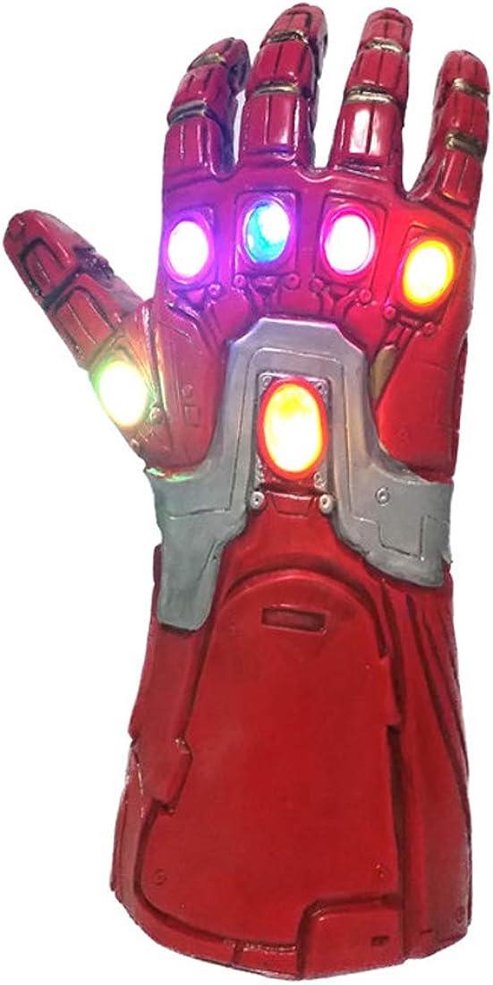 Guantes de hombre de hierro para niños, guantelete infinito con luz LED, accesorios de disfraces