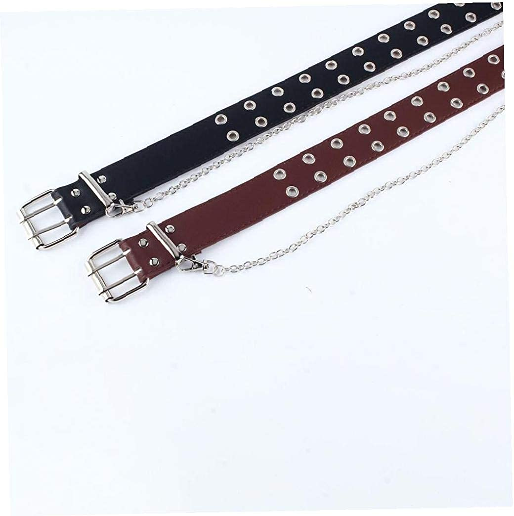Double Eyelet Grommet PU Leather Belt Fashion Female Waist Belt Hollow Rivets Belt Double Prong Belt Buckle for Female Ladies Adjustable Black