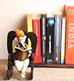 eCraftIndia Lord Ganesha reading Book on Wooden Chair (LxWxH - 4INx5INx6.5IN)
