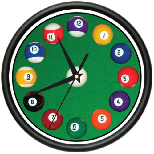 POOL BALLS Wall Clock hall billiards game room cue