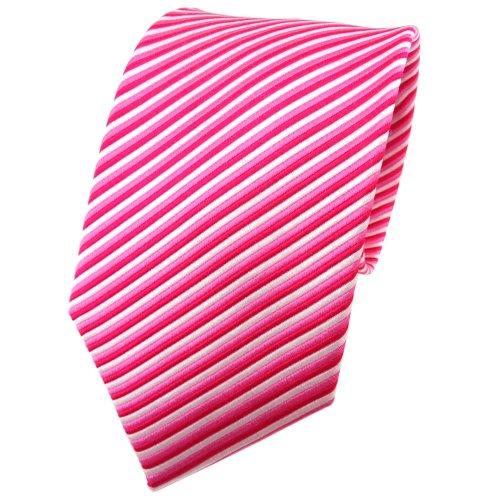 TigerTie cravate en soie pink rosé argent rayé - cravate en soie