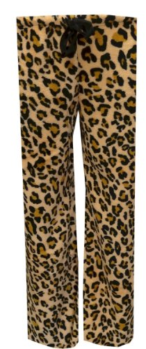 Totally Pink! Women's Brown Leopard Plush Lounge Pant (Large) (Leopard Pants Lounge)