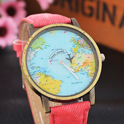 Loweryeah Womens Retro World Map Watch Casual Analog Quartz Plane Wrist Watch Rose Red post thumbnail