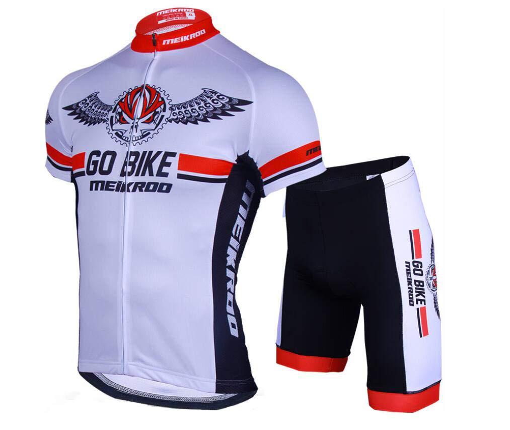 DUBAOBAO Herren Radtrikot Kurzarm-Set - Geeignet Für Rennrad Outdoor Sportswear - UV-Schutz - Atmungsaktiv Schweiß (Weiß)