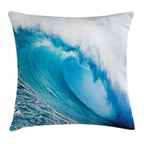Ambesonne Ocean Throw Pillow Cushion Cover, Surfing Water Tube Appeares After Forceful Giant Wave Curls Itself on Sea, Decorative Square Accent Pillow Case, 20 X 20 Inches, Blue Aqua and -