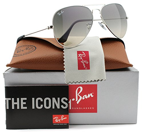 Ray-Ban RB3025 Small Aviator Sunglasses Shiny Silver w/Grey Gradient (003/32) 3025 55mm - Ray Ban Aviator Size Small