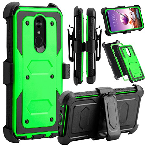 LG Stylo 4 Phone Case, LG Stylo 4 Case, Venoro Heavy Duty Shockproof Full Body Protection Case Cover with Swivel Belt Clip and Kickstand for LG Q Stylo/LG Stylo 4+ / LG Stylo 4 Plus (Green)
