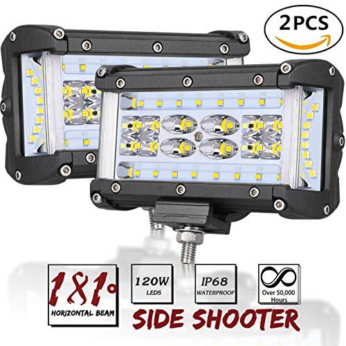 Side Shooter LED Lights, AutoPowerPlus 2pcs 5 inch 120W LED Pods Off Road Driving Fog Light Waterproof LED Cubes Spot Flood Combo Work Lights for Truck Jeep ATV UTV Pickup Boat