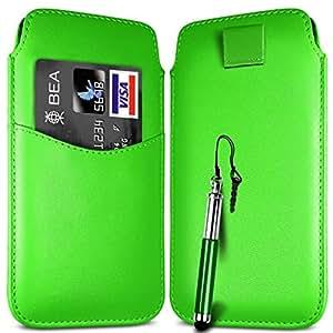 Direct-2-Your-Door - Ranura para tarjeta de Sony Xperia M superior de la PU de cuero Flip Case Tire Tab Bag & retráctil Stylus Pen - Verde