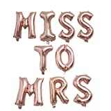 Yalulu 16 inch Hanging Foil Letter Balloons Miss to MRS Party Decor for Bridal ShowerWedding Bachelorette Hen Party Supplies (Rose Gold)