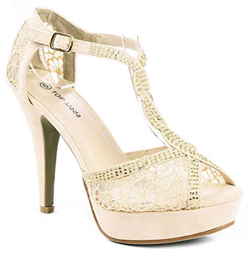 Women Beige Rhinestone Studded Cross Ankle T-Strap Lace Formal Evening Party High Stiletto Heel (High Heel T-strap Pumps)