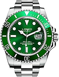 LOREO Mens GMT Silver Stainless Steel Sapphire Glass Green Rotating bezel Mens Automatic Watch
