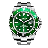 LOREO Mens GMT Silver Stainless Steel Sapphire Glass Green Rotating bezel Men's Automatic Watch