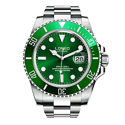 LOREO Mens Automatic Watch Silver Stainless Steel Sapphire Crystal Green Rotating Bezel Analog Watches