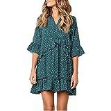 Dresses for Womens, FORUU V-Neck Flare Sleeve Cross Ruffles Polka Dot Print Swing Casual Mini Dress