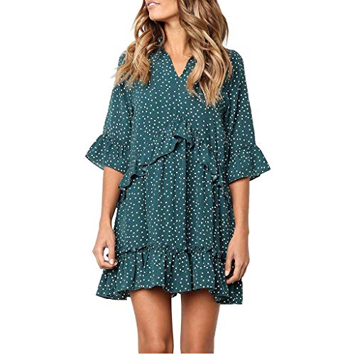 Shusuen Women's V Neck Ruffle Polka Dot Pocket Loose Swing Casual Short T-Shirt Dress