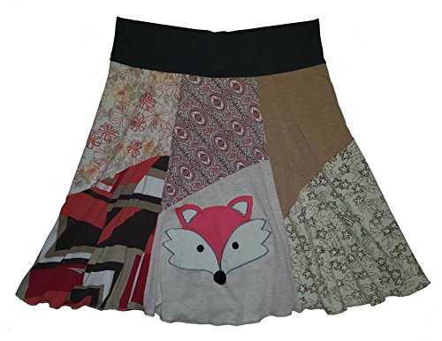 Handmade Skirt Women's Size XL 1X Plus Size Fox T-Shirt Skirt Upcycled Hippie Skirt by Twinklewear
