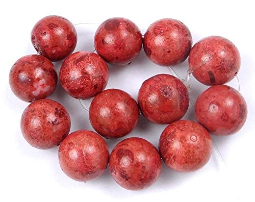 (14mm Red Sponge Coral Round Beads (13))