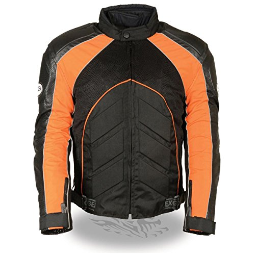 Milwaukee Leather Mens Combo Black/Orange Armored Leather/Textile/Mesh Jacket - X-Large ()