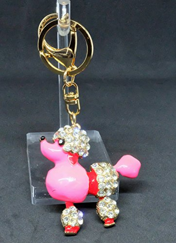 Gift.for.You Pink Poodle Dog Pendent Charm Jewelry Clear Rhinestone Keychain Key Ring