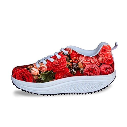 Sneaker Stylish Flower Womens IDEA HUGS Platform Flowe12 Print Walking Rose 58WAwq