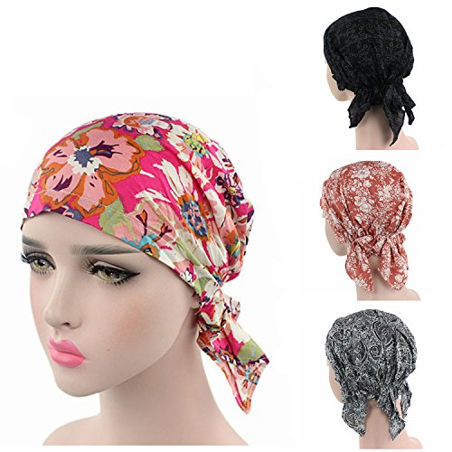 [Ever Fairy 3 Colors Pack Pre Tied Head Scarf Hat Ethnic Print Turban Headwear Women Stretch Flower Muslim headscarf (3 colors pack] (Ethnic Hats)
