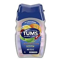 Tabletas masticables antiácidas TUMS para el alivio de la acidez estomacal, fuerza adicional, frutas variadas, 48 tabletas