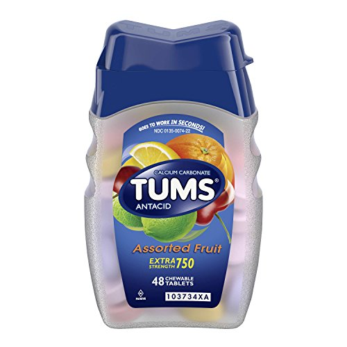 TUMS Extra Strength Assorted Fruit Antacid Chewable Tablets for Heartburn Relief, 48 count