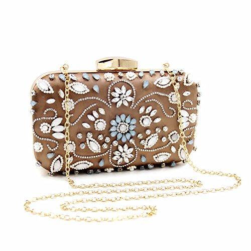 Crystals Detachable Vintage Purse Women Chain With Elegant Clutch Pearls Evening Rinestones Velvet Handbag Evening Flower Navy Beaded Eb111 6xwSnqw0