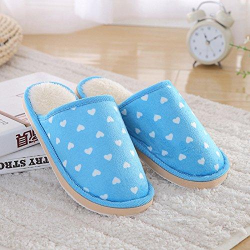 Fankou Autunno e Inverno indoor pantofole di cotone gli uomini e le donne di moda coppie amorevole caldo cotone pantofole home pantofole coppie ,4243, blu cielo