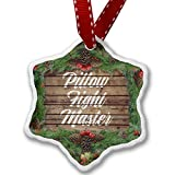 Christmas Ornament Painted Wood Pillow Fight Master - Neonblond
