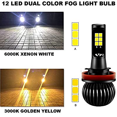 GTP High Power H11 H8 H9 Switchback LED Fog Light Bulb Dual Color 6000K White 3000K Yellow DRL Driving Bulbs Replacement (Not for Headlight): Automotive
