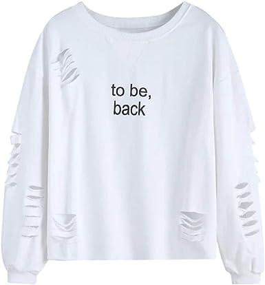 Xinxinyu Letras Impreso Sudadera Hueca Mujer | Otoño Manga Larga Pullover Blusas Cuello Redondo | Moda Holgado Color Sólido Camiseta (L, Blanco): Amazon.es: Ropa y accesorios