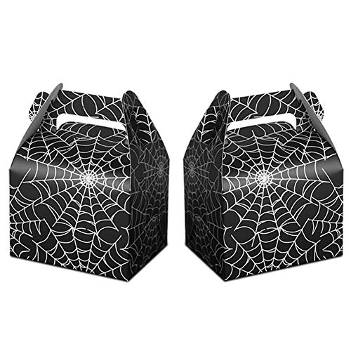 24pcs Halloween Favor Boxes Paper Black Spider Web Gift Bags Halloween Treat Boxes for Halloween Kids Birthday Decorations Spider Birthday Party Supplies