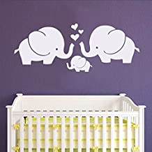 "Wall Decal Decor Cute Elephants Wall Decal - Elephant Family Baby Nursery Wall Decal Sticker Baby Crib Art D¨¦cor(36""wx14""h,gray)"