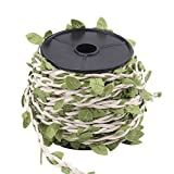 10M Simulation Leaves Jute Rope, Creative Burlap Leaf Mixed Knitting Forest Series Silk Ivy Hemp Wax Rope for DIY Art & Crafting Decor Accessories(White Wax Rope)