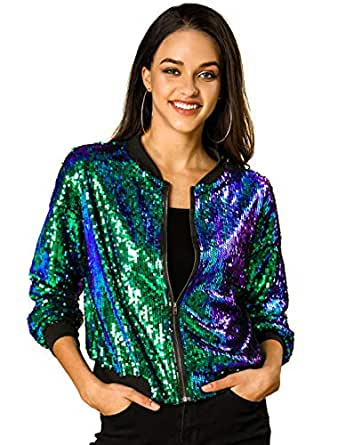 Allegra K Women's Sequin Glitter Long Sleeve Zipper Bomber Jacket S Green