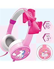 Unicorn Headphones for Kids Girls, Headphones for Phones with 85dB Volume Limited Wired Adjustable Bowknot On Over-Ear Headpset for Children Toddlers Tablet Travel Back to School Gifts Game Earphone