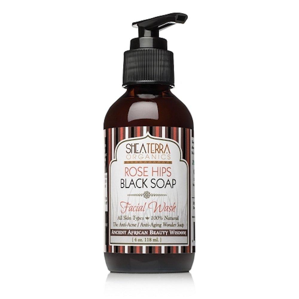 Shea Terra Organics - Rose Hips Black Soap Deep Pore Facial Wash & Mask - 4 oz.