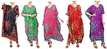 Miss Lavish London Women Kaftan Tunic Kimono Free Size Long Maxi Party Dress for Loungewear Holidays Nightwear Beach Everyday Cover Up Dresses Teal 18-22