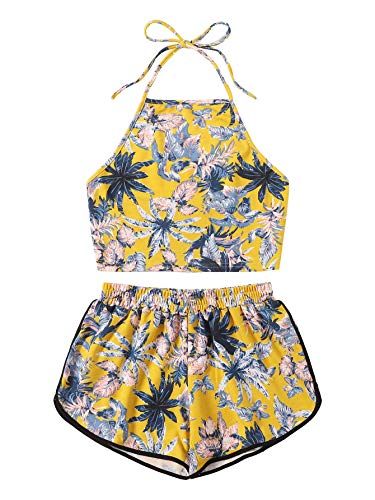 SweatyRocks Women's 2 Piece Set Halter Crop Top Shorts Set Yellow
