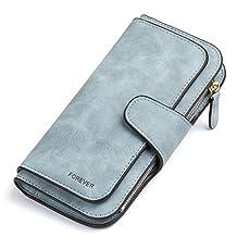 RFID Blocking Mattee Leather Wallet for Women Clutch Purse Bifold Long Designer Ladies Checkbook Multi Credit Card Holder Organizer with Coin Zipper Pocket