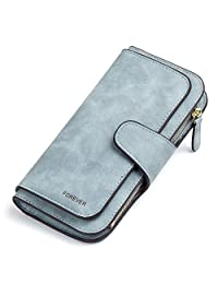 RFID Blocking Matte Leather Wallet for Women Clutch Purse Bifold Long Designer Ladies Checkbook Multi Credit Card Holder Organizer