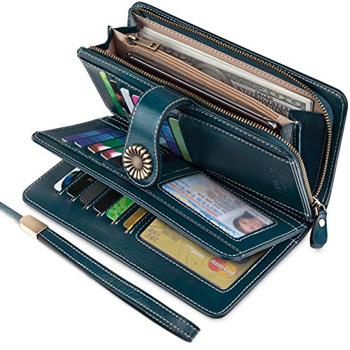 (UMODE Vintage Style Genuine Leather Large Capacity Wallet Organizer for Women (Green Color))