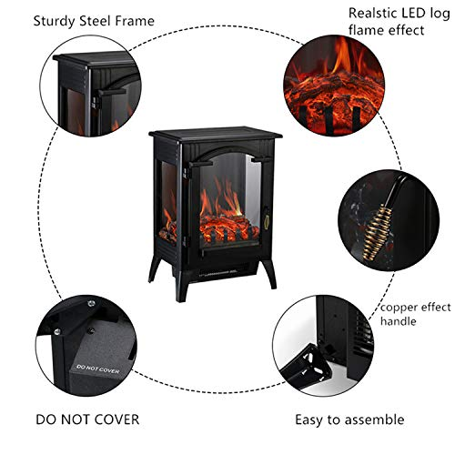 Wonlink Portable Fireplace Heater,2 Quartz Infrared Space Flame Effect